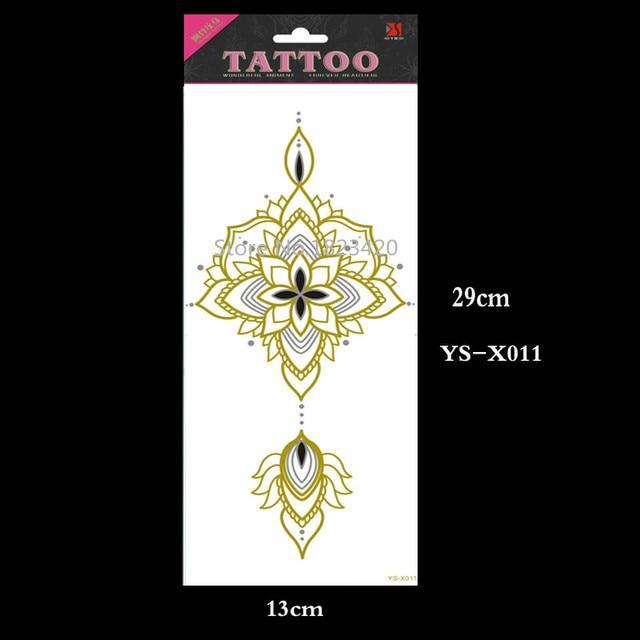 YS-X011 Waterproof Under Breast Tattoo, Ornamental Style Temporary Metal Tattoo, Sexy Women Tattoo