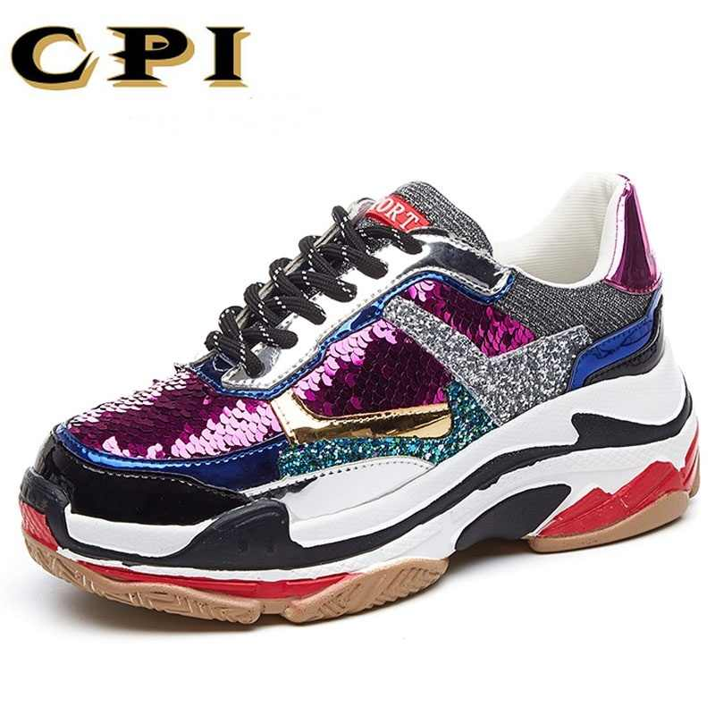New Bling shiny sequines Women casual shoes platform wedge shoes fashion  sneakers breathable Glitter travel walking 16596e4f684c