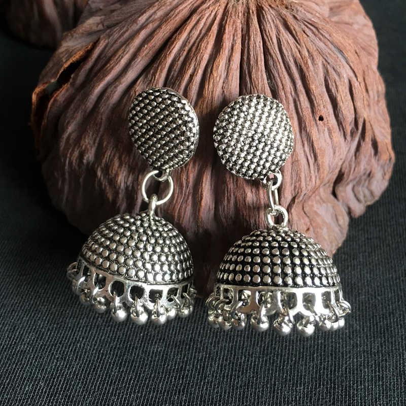 96731134f ... India Retro Jhumka Earrings Handmade Antique Silver Tribal Jewelry BOHO  Hippie chandelier Earrings Pakistani Thailand Nepal