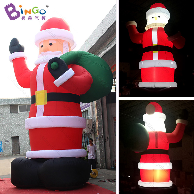 Hot 6m/20ft LED lighting Inflatable Santa Claus model for Christmas party decoration giant blow up Father Christmas balloon toys купить в Москве 2019