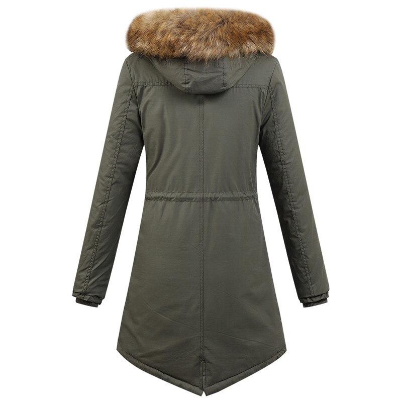 Col Chaud Plus De Veste Hiver Nouveau Manteau Capuchon kaki Solide Green Le Automne 2018 Femme Army Coton Fourrure À rouge Mode Et Couleur Casual xPUWOwqpC