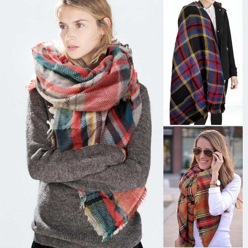 New Za Winter Scarf 2016 font b Tartan b font Plaid Cashmere Scarf Pashmina Fashion Warm