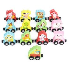 MWZ Chinese Zodiac Trains Toy Magnetic Wooden Train Car Anime Locomotives For Kids Gift
