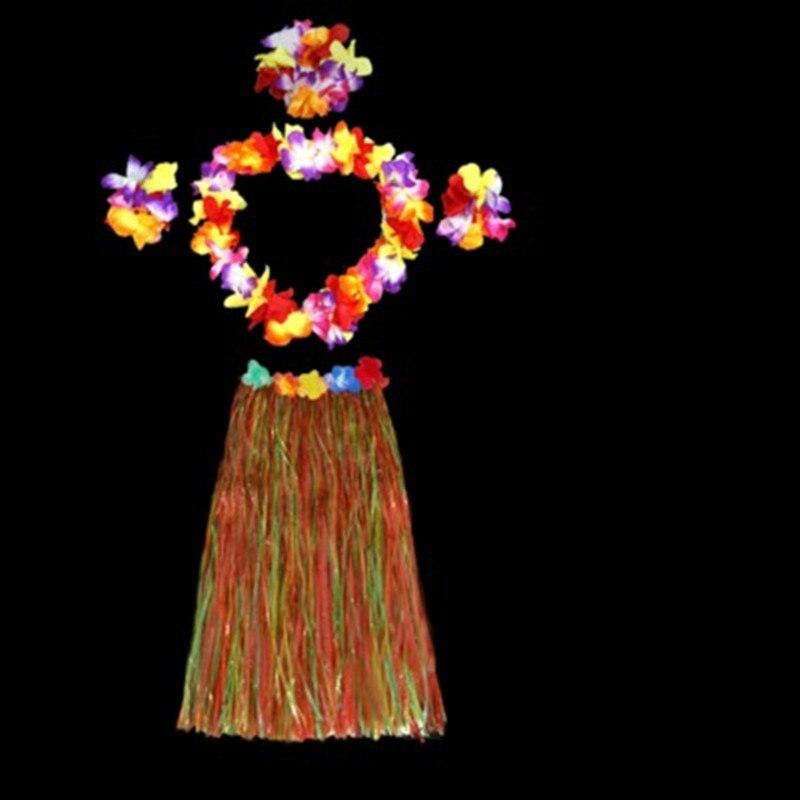 60CM Festival Women Adult Hula Show Grass Beach Dance Activity Skirt Wreath Garland Fun Hawaiian Party Decorations Dress