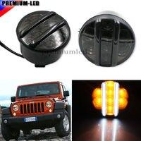 (2) Weiß/Gelb Glas Direkt Fit LED Tagfahrlicht/Blinker Lampen Für 2007-2016 Jeep Wrangler