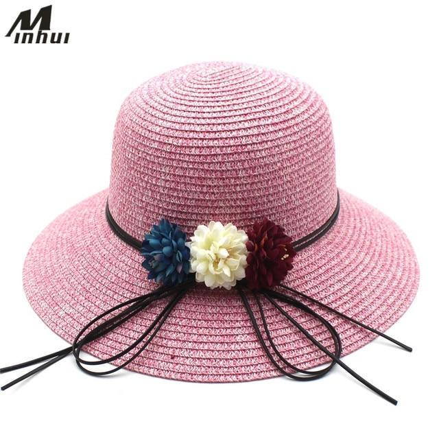 fb6d40c2dcd Minhui 2018 New Flowers Straw Hats Wide Brim Foldable Beach Sun Summer Hat  for Women floral