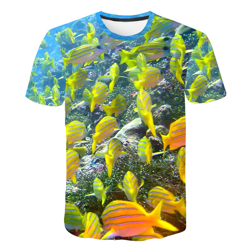 Funny Fish T-shirt 3D Tropical Printed Hip Hop short sleeve shirt Harajuku Fashion Men Women Summer 3D T shirt Lover Style Tee