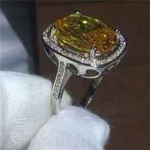 ¡Novedad! anillos clásicos de plata de gran piedra amarilla para mujer, joyería de moda, regalo de Navidad