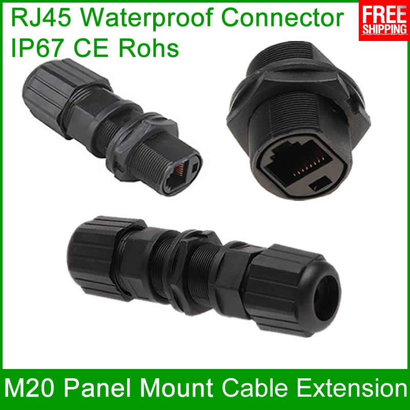 Free Shipping 1 unit IP67 RJ45 Ethernet waterproof adapter socket Connector Panel Mount Outdoor Straight-through joint plug 8P8C free shipping 5sets lot rj45 socket panel mount ip68 waterproof wire connectors m19 connector adapter