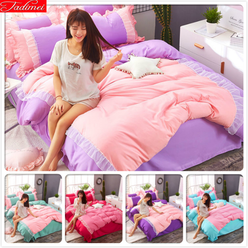 Pink Purple Ruffles Lace Edge Duvet Cover Sheet Pillow Quilt Case 3/4 pcs Bedding Set Princess Single Twin Queen Size 1.5m 1.8m
