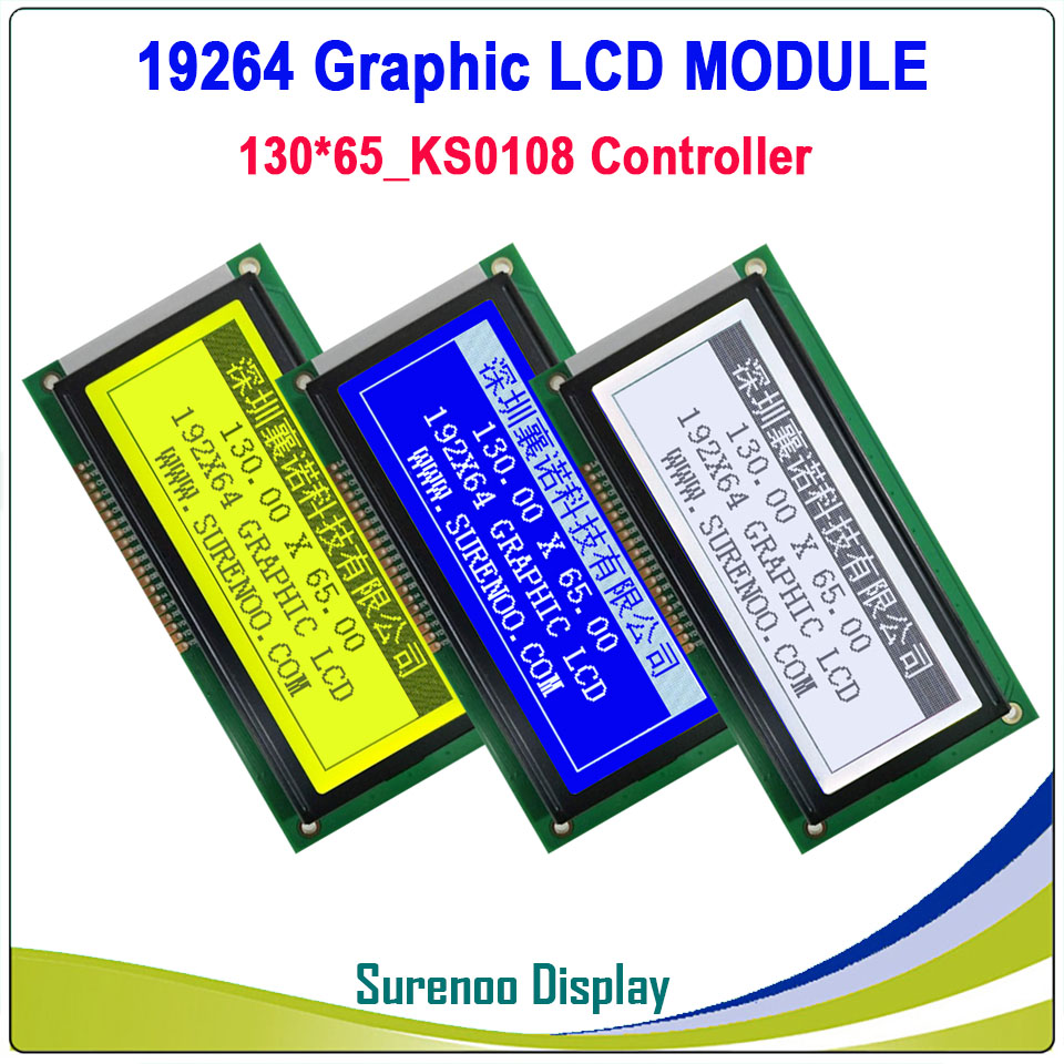 19264 192*64 192X64 130X65MM Graphic Matrix LCD Module Display Screen LCM Build-in KS0108 Controller With LED Backlight