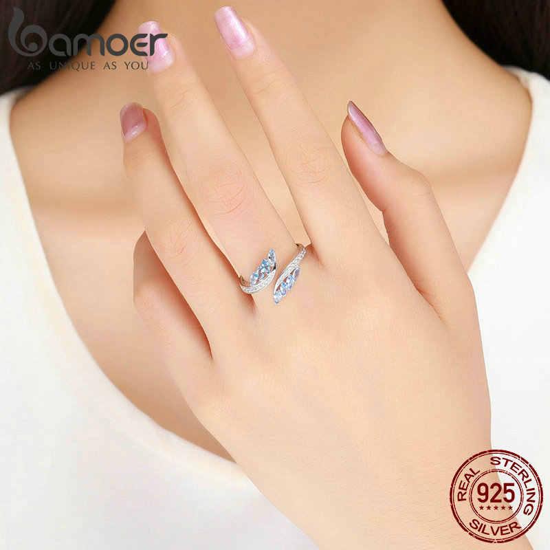 BAMOER Nova Coleção 925 da Forma de Borboleta de Prata Luz Azul CZ Anéis de Dedo para As Mulheres Noivado Jóias BSR005