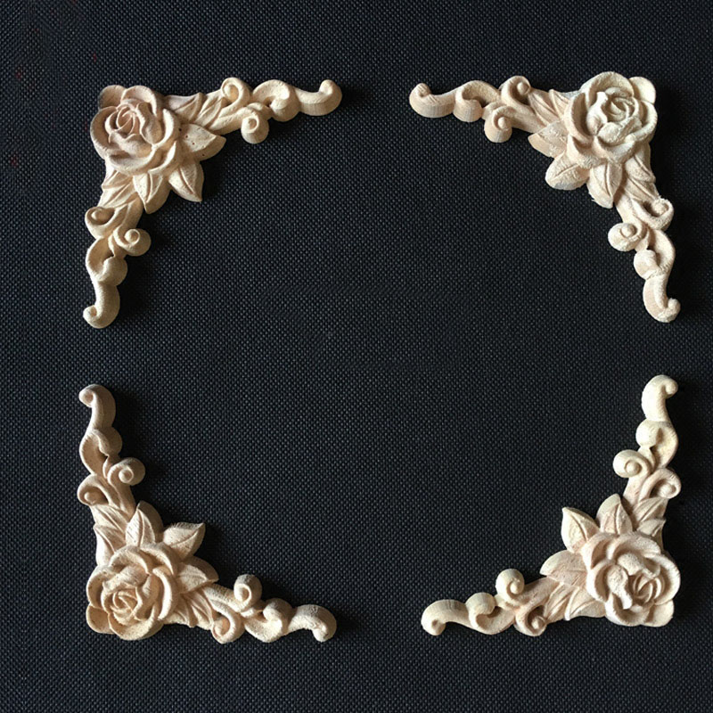 4PCS Retro Rose Floral Wood Carved Decal Corner Applique Decorate Frame Wall Doors Furniture Decorative Wooden Figurines Carfts