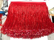 RED crystal Handmade 15cm wide beaded fringe trimming,5yard, about 270 beads threads/yard SGTM14