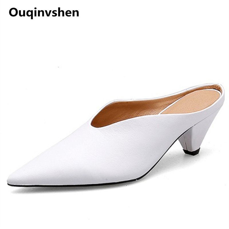 Ouqinvshen Pointed Toe White Pumps Shoes Women Concise Fashion Sexy Genuine Leather Women Slippers Spike Heels