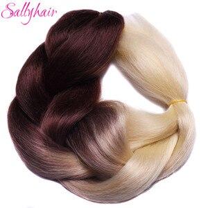 Синтетические плетеные волосы Ombre, 3 тона, волосы для наращивания, 24 дюйма, вязаные крючком, большие косички, волосы для наращивания, коричнев...