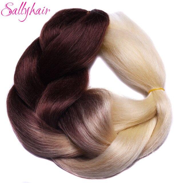 Ombre Synthetic Braiding Hair 3 Tone Color Sallyhair 24inch Crochet