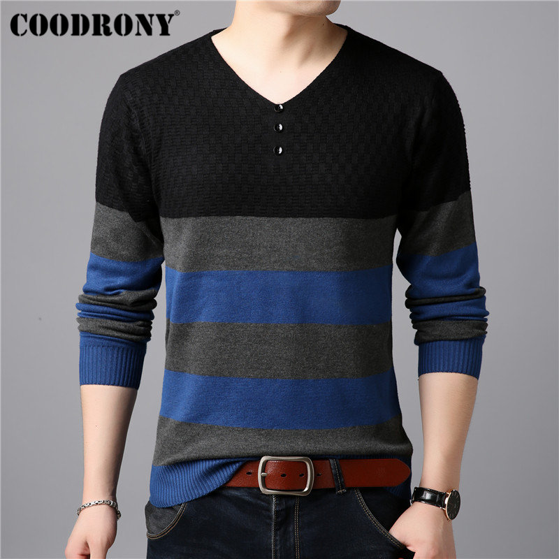 COODRONY Button V-Neck Pull Homme Cotton Sweater Men Clothes 2018 Autumn Winter Soft Wool Pullover Men Long Sleeve Knitwear B016