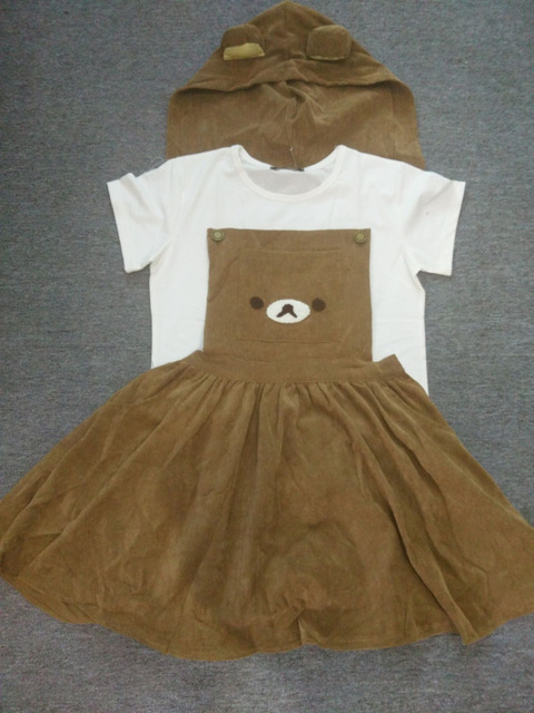 Bear Rilakkuma Straps Dress Lolita Braces Suspender Mori Girl Kawaii Dress School Clothes Vestido Ship From US Dropping Shipping 6