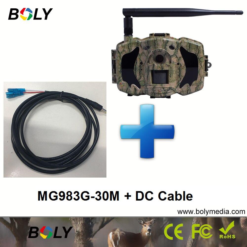 MG983G con dc cavi 30MP telecamere senza fili GPRS MMS cellulare 3G telecamere di caccia invisibile IR e 100 ft. nero IR telecamere di gioco
