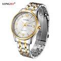 2017 longbo amantes pareja relojes hombres de lujo fecha día impermeable mujeres de oro de acero inoxidable reloj de pulsera de cuarzo montre homme 80145