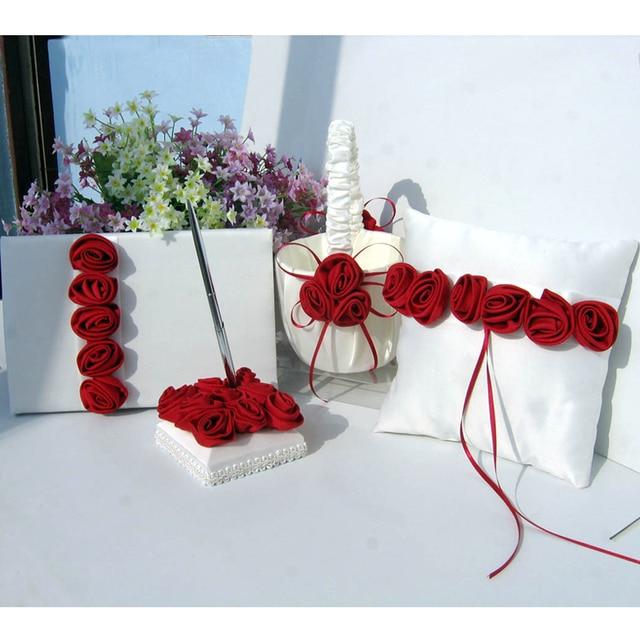 4pcs Set Red Rose Flower Satin Wedding Guest Book Sign Pen Ring Pillow S