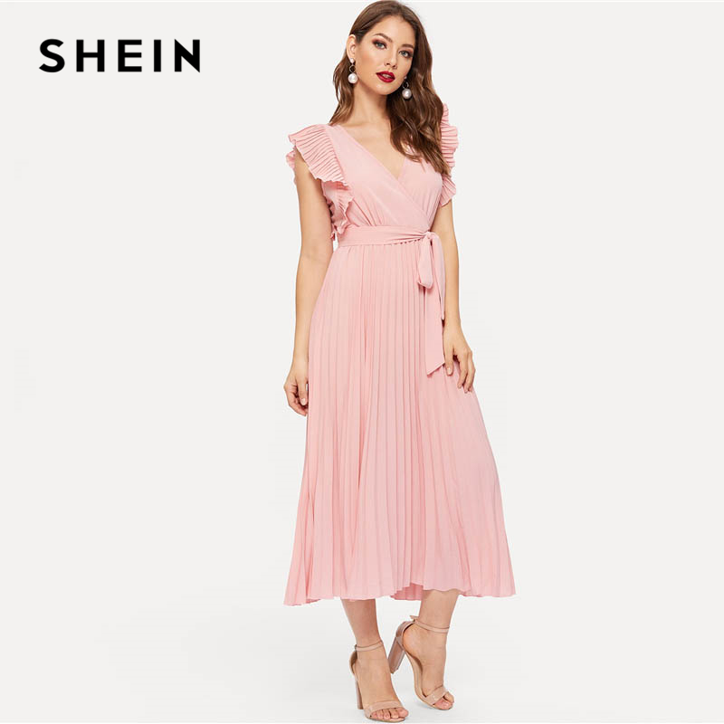 7306c28eb9 SHEIN Pink Retro Pleated Panel Ruffle Armhole Wrap Belted Sleeveless Dress  Women Summer Fit and Flare Solid Maxi Party Dresses-in Dresses from Women's  ...