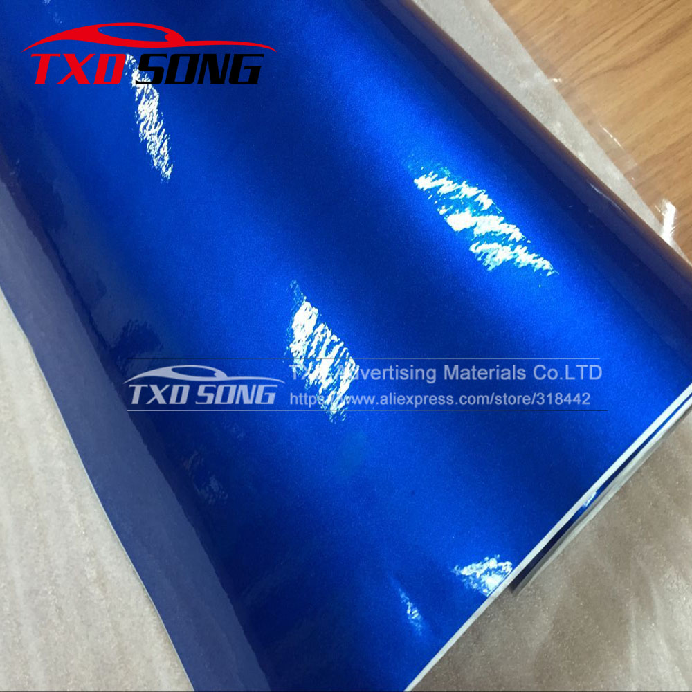 Top Quality Metallic Pearl Glitter Blue Wrap Film With Air Free Bubbles With Size 1.52*20m/roll BY FREE SHIPPING