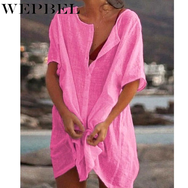 WEPBEL Womens Fashion Summer Short Sleeve Long Blouses Casual Loose Solid Color Plus Size Beach Wear Cover-up Short Linen Blouse 6