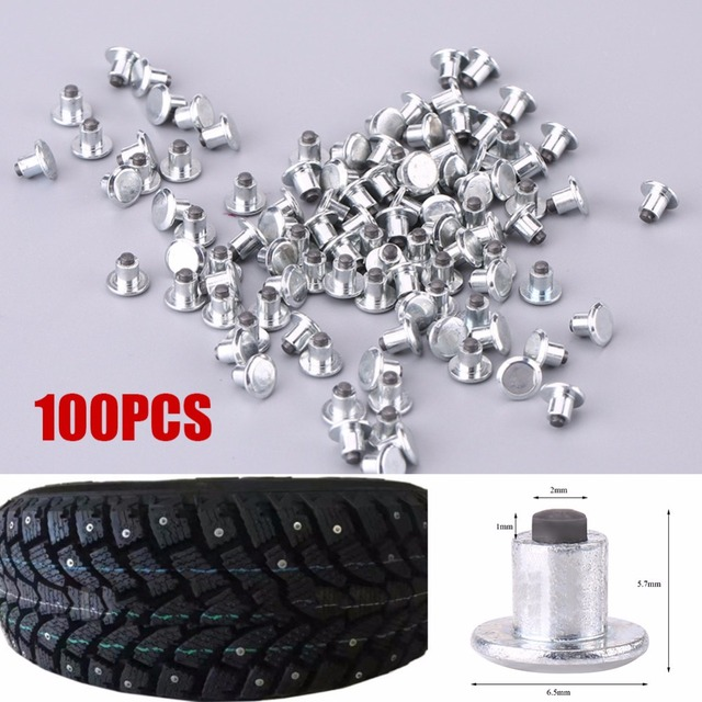 "100pcs Wheel Tyre Stud Screws Snow Tire Spikes for Bike Car Motorcycle ATV Shoes  6.5mm/0.26"" Auto Accessories Car Tire Stud"