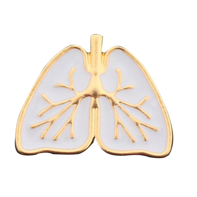 Gold White Enamel Anatomy Human Organ Enamel Pin Medical Anatomical Heart Brooch Jewelry Heart Broches Pins