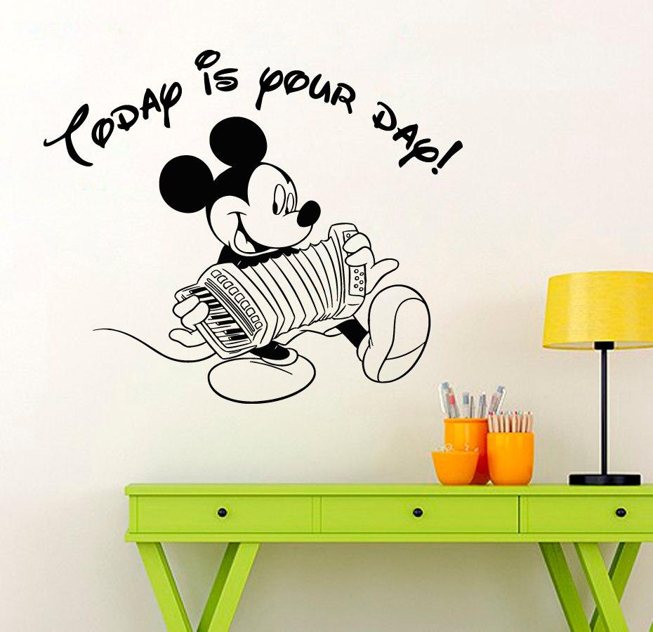 US $6 02 OFF Lucu Mickey Mouse Dengan Organ Pola Art Wallpaper Hari Ini Adalah Hari Anda Rumah Anak Anak Vinyl Wall Sticker BedroomDecor W