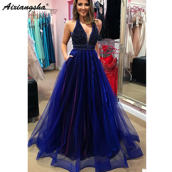 Sparkly Royal Blue 2018 Prom Dresses with Beading A-Line V-neck Tulle Long Prom Gown Formal Elegant Evening Dresses