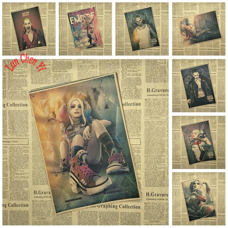 Klassisk film Kraftpapir-plakat Suicide Squad Series 1 Bar Cafe Vintage Høykvalitets utskrift Tegningskjerne Dekorativt maleri