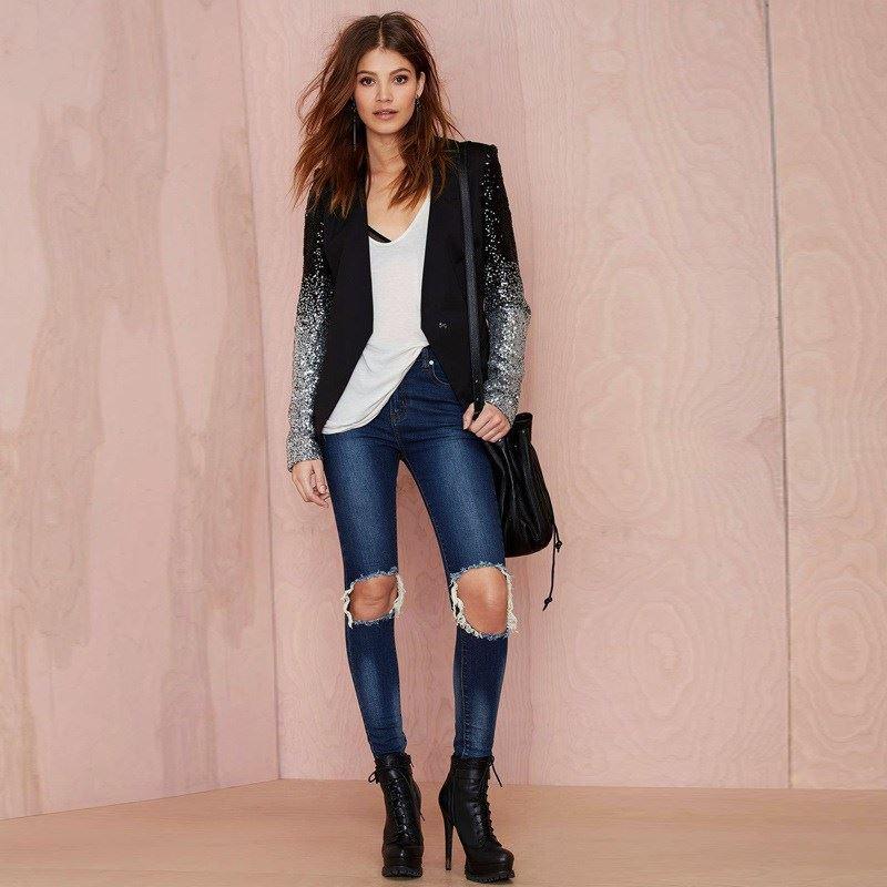 Women Sequin Black Slim Jacket Long Sleeve Spring Autumn Office Lady Casual Cotton Jackets Coats Plus Size 3XL Outwear KLD1170 3