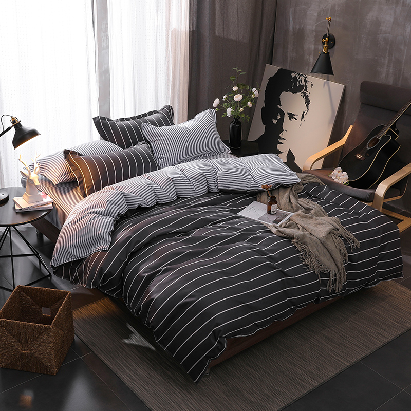 BEST.WENSD High Quality Black And White Stripes Bedclothes 2019 New Style Fashion Queen California King Bedding Set Bedsheet Set