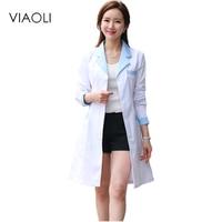 Viaoli 2017 Long Sleeve Women Medical Coat Nurse Services Uniform Medical Scrub Clothes White Lab Coat