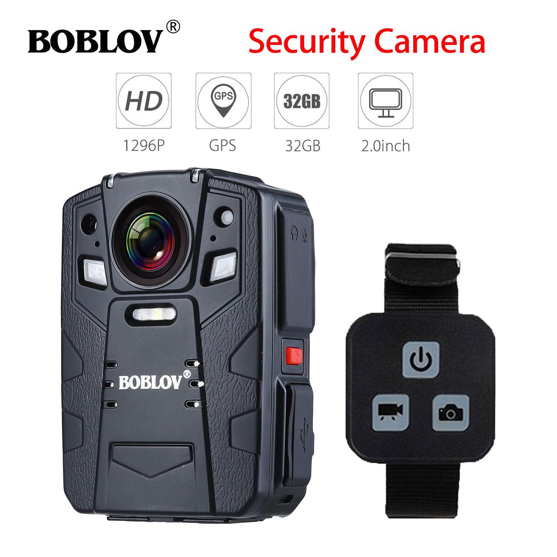 цена на BOBLOV HD66-13 32GB 1296P 170 Degree Police Body Worn Camera IR Night Vision GPS with Remote Control