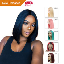 Ali Queen Hair Short Human Hair Wigs 613/Red/Blue/Black/Purple/Pink Wig Remy Brazilian Ombre Lace Front Wig Blonde Bob Wigs(China)
