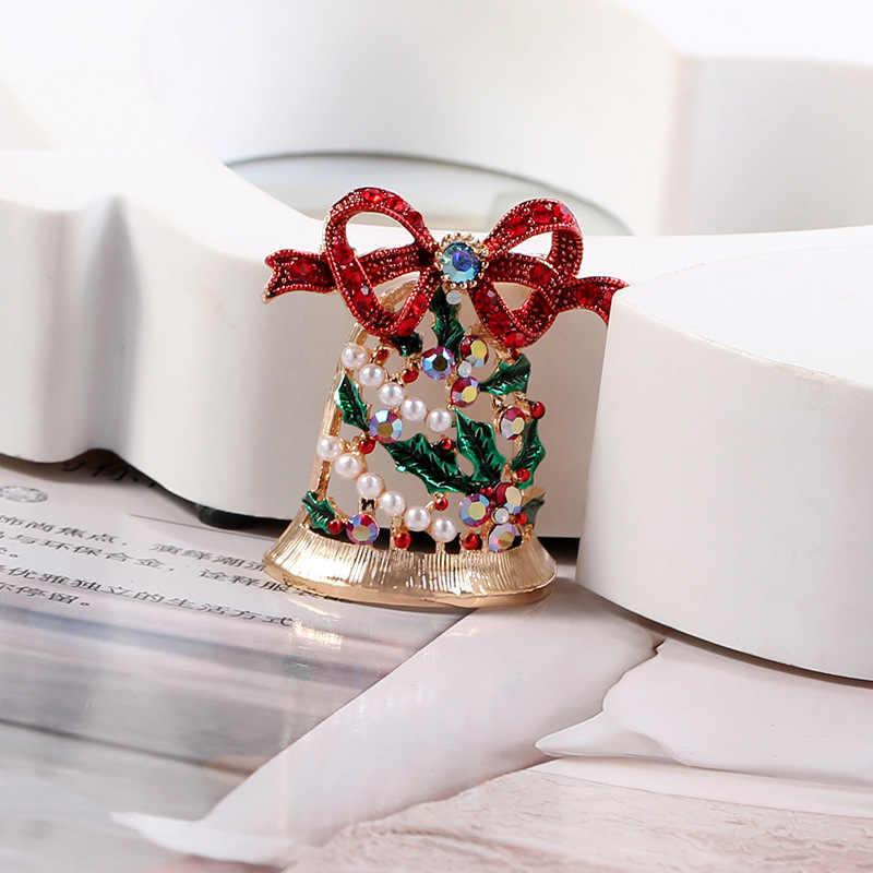 Cindy Xiang Mengkilap Rhinestone Bell Bros untuk Wanita Natal Pin Tahun Baru Mantel Gaun Aksesoris Perhiasan Menjual Baik