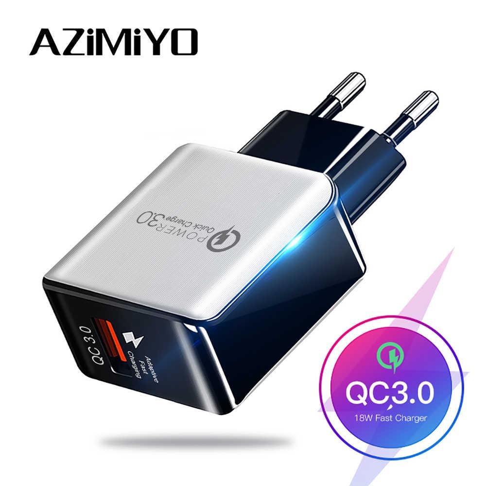 Azimiyo 18W Pengisian Cepat 3.0 Cepat Charger Ponsel Uni Eropa Plug Dinding Charger Usb Adaptor untuk Iphone Samsung Redmi huawei