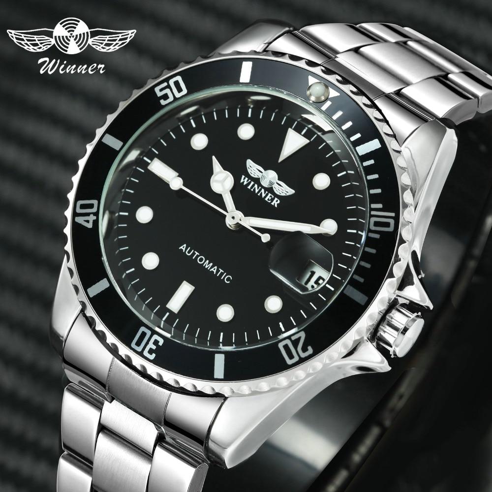 WINNER Official Classic Automatic Watch Men Business Mechanical Watches Top Brand Luxury Steel Strap Calendar Wristwatches hotwatch stainlesswatch stainless steel strapwatch f -