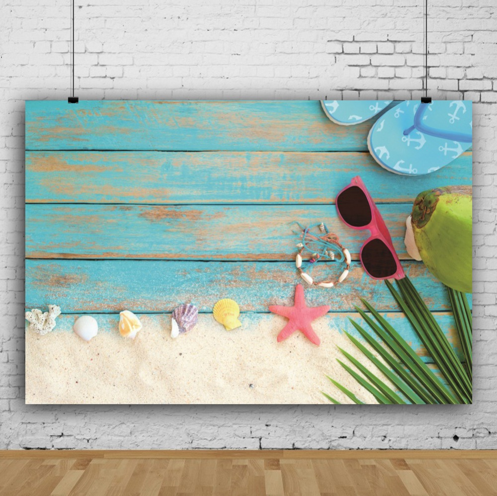 Laeacco Seaside Beach Starfish Shell Sunglasses Planks Floor Scene Photography Background Photographic Backdrop For Photo Studio