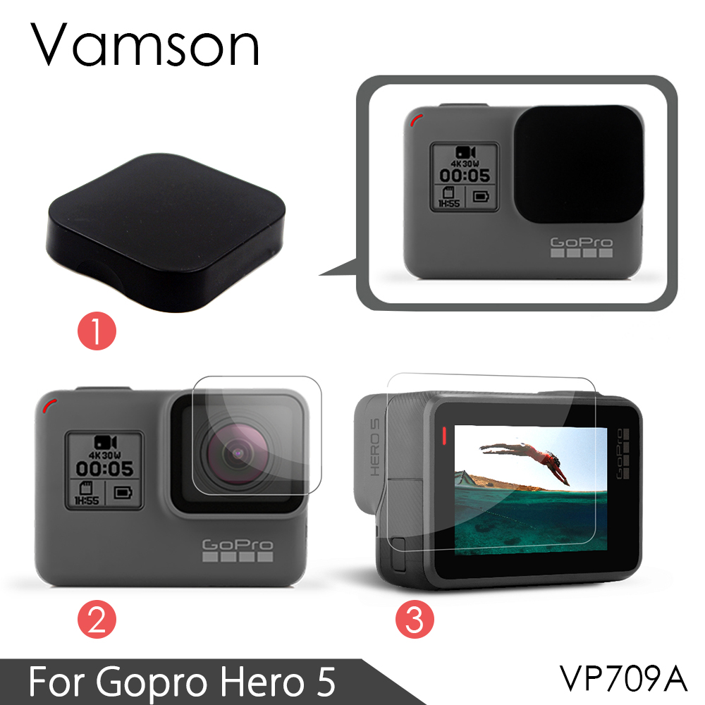 Vamson for Gopro hero 6 5 Accessories 3 in 1 Lens Protection Cover+LCD Screen Protector + Lens Protector for Gopro Hero 5 VP709A high precision cnc aluminum alloy lens strap ring for gopro hero 3 red