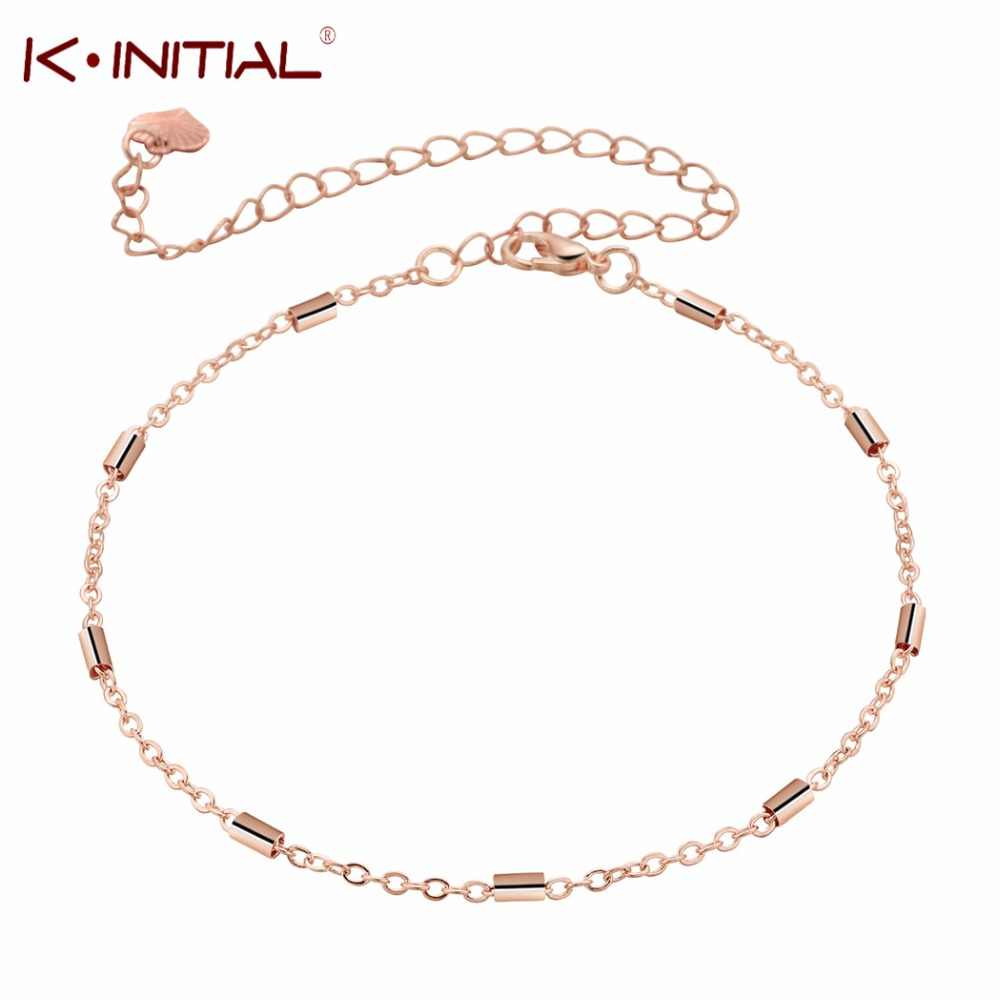 Fashion Cylinder Round Bar Anklets for Women Hot sale Rose Gold Alloy Chain Ankle Bracelet Jewelry Girls Foot Gift