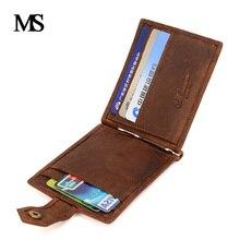 MS Новинка 2017 года натуральная кожа мини кошелек Для мужчин карман на молнии монета доллар зажим для денег в винтажном стиле из натуральной кожи Для мужчин кошельки TW1664