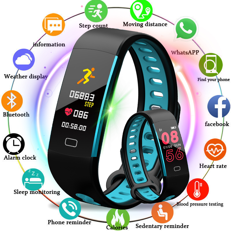 BANGWEI Smart Sport Bracelet Fitness Watch Blood Pressure Heart Rate Monitor Pedometer Information Reminder for Android IOS +Box