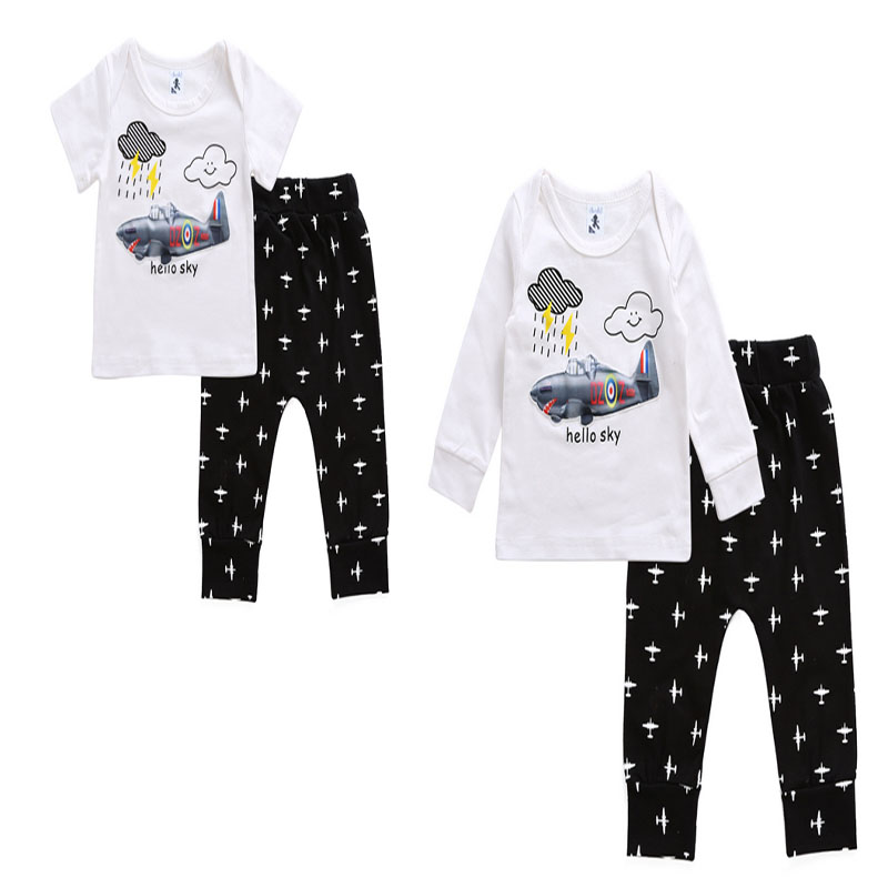 New Toddler Baby Boy Kids Clothes Set Light Up Plane Pattern T-shirt Tops+Long Pants 2pcs 2017 Fall Children Clothing Outfit baby fox print clothes set newborn baby boy girl long sleeve t shirt tops pants 2017 new hot fall bebes outfit kids clothing set