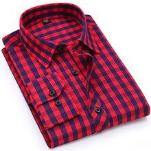 Camicia A Scacchi Plaid degli uomini di vacanza Casual Giovanile Singola Tasca Manica Lunga Standard fit Sottile Comodo di Cotone Camicette