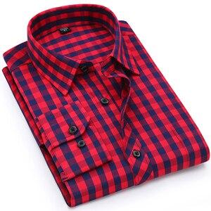 Image 1 - Camicia A Scacchi Plaid degli uomini di vacanza Casual Giovanile Singola Tasca Manica Lunga Standard fit Sottile Comodo di Cotone Camicette